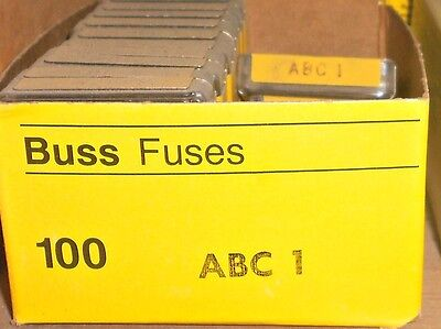 "ABC 1 Fast Acting Ceramic Fuses BUSS 1/4""x1-1/4"" Bussmann NEW Lot of 10"