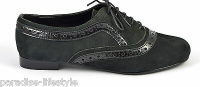 Womens Ladies Black Brogue Shoes Suede Patent Leather Lace-up Office Boots Size