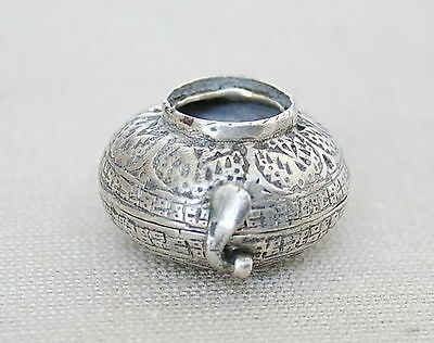 ANTIQUE ISLAMIC ENGRAVED SILVER MINIATURE QURAN KORAN AMULET BOX 18th CEN. ENGR.