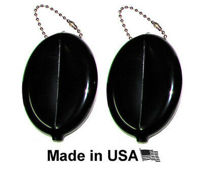 2 Black Rubber Squeeze Coin Holder | Keychain Money Change Purse | Made In Usa