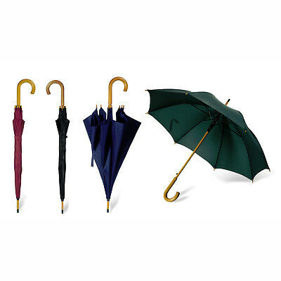"42"" CLASSIC Umbrella - WOODEN Crook Handle AUTOMATIC Stick Brolly Walking Bride"