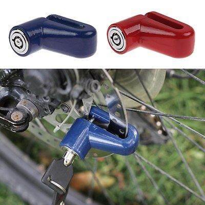 Scooter Bicycle Motorcycle Safety Anti-theft Disk Disc Brake Rotor Lock Red/Blue