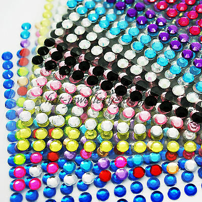 Rhinestone Stickers Stick On 4mm Gem Glue Strip Diamante Sparkle Bling 468 beads