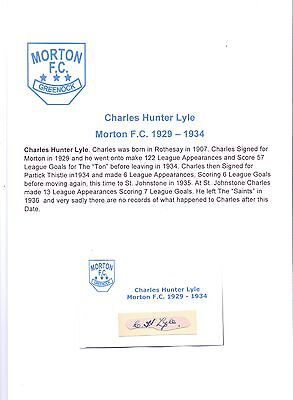 Charles Hunter Lyle Morton 1929-1934 Very Rare Original Hand Signed Cutting/card