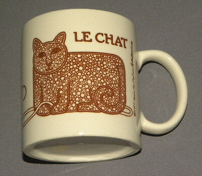 Vintage 1970's Le Chat Cat Themed Porcelain Mug Cup Cat with Ball of String