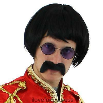 1960's Sergeant Pepper Wig + Tash + Specs Pop Sgt Fancy Dress Costume Accessory