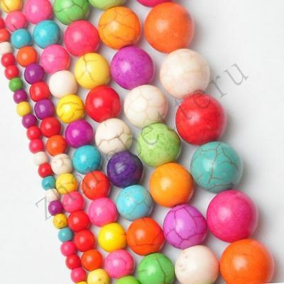 Wholesale Colorful Natural Turquoise Gemstone Round Spacer Loose Beads 4-14 mm