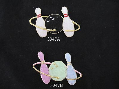 2PCS~BOWLING PINS~IRON ON EMBROIDERED APPLIQUES PATCHES
