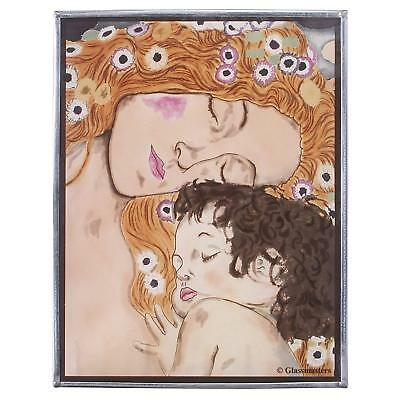 "Glassmasters Klimt ""MOTHER AND CHILD"" Stained Glass Panel Suncatcher, NIB"
