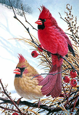 """New Glassmasters  """"WINDY CARDINALS"""" BIRD ART Stained Glass Panel,  New In Box"""