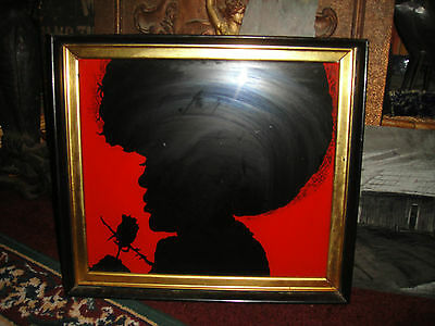 Superb Black Americana Silhouette Artwork Of A Black Woman W/Afro Holding Rose