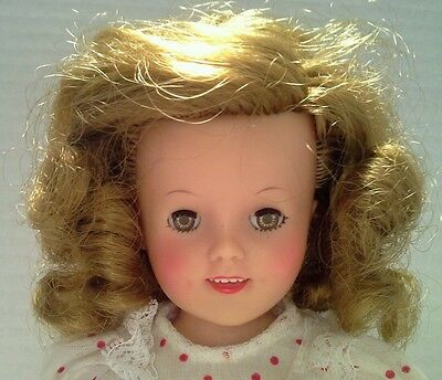 """VINTAGE 1958 SHIRLEY TEMPLE IDEAL DOLL ST-12 12"""" JOINTED High color face"""