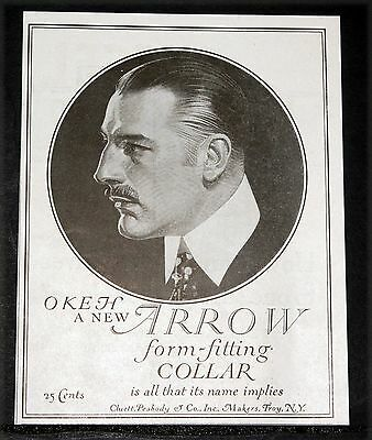 "1919 Old Magazine Print Ad, Cluett Peabody Arrow New ""okeh"" Form Fitting Collar!"