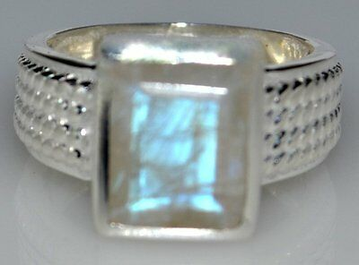 Emerald cut Rainbow Moonstone Sterling Silver Ring .925 All Sizes 5½, L to 9½, T