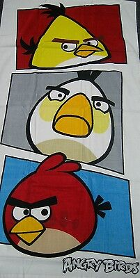Childrens Boys Girls Angry Birds Faces White Beach Bath Towel/swimming Gift Idea