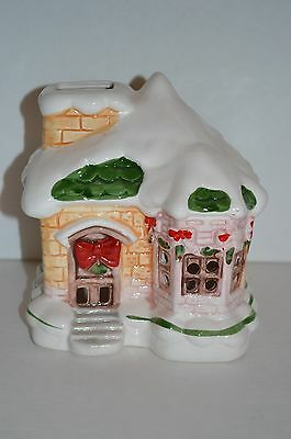 Vintage Ceramic Christmas Village House by ONI Made in Taiwan Light Candle Bulb