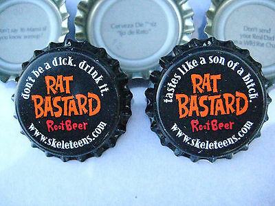 100 Uncrimped ( Rat Root Beer ) bottle, cap-crowns. Soda and Beer category