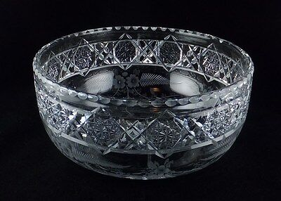Hawkes ABP American Brilliant Cut & Engraved Floral Large Bowl - Signed
