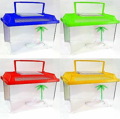 Fish Water Tank Plastic Aquarium Colour Insect Reptile Worm Cage Handle MEDIUM