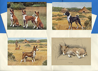 Basenji Pack Of 4 Vintage Style Dog Print Greetings Note Cards