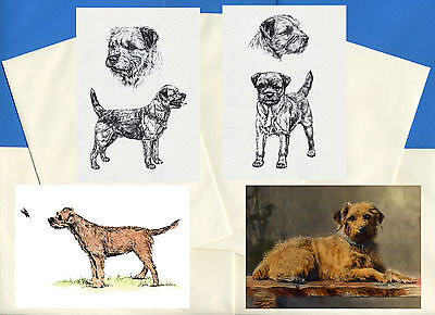 Border Terrier Pack Of 4 Vintage Style Dog Printgreetings Note Cards
