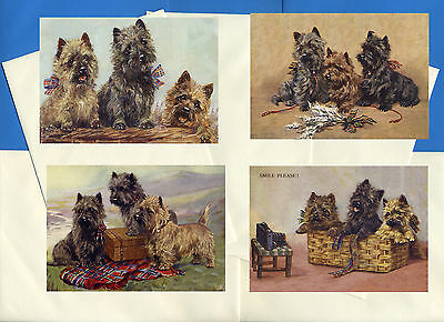 Cairn Terrier Pack Of 4 Vintage Style Dog Print Greetings Note Cards #1