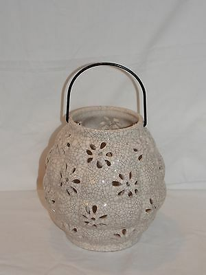 New Large Ceramic Bee Hive Shape Flower Cut Outs Hanging Or Table Top Lantern