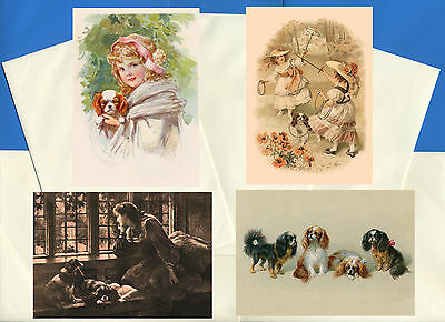 Cavalier King Charles Spaniel  4 Vintage Style Dog Print Greetings Note Cards #2
