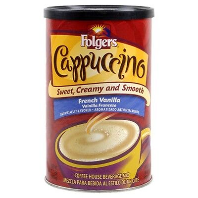 Folgers French Vanilla Cappuccino Coffee Beverage Mix 16 oz
