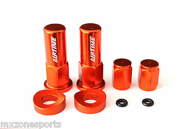 Airtime Cnc Billet Valve Cap / Rim Lock Nut Spacer Kit For Ktm -Orange