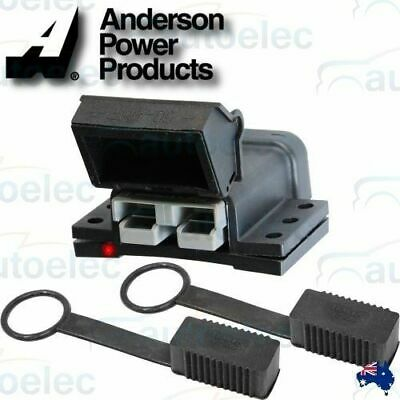 50A 50 AMP ANDERSON PLUG MOUNTING KIT + 2 x DUST COVERS CARAVAN 12V 12 VOLT NEW