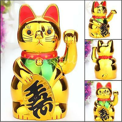 6'' Chinese Lucky Waving Gold Cat Figure with Moving Arm Colourful Box Feng Shui