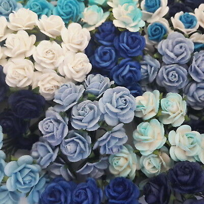 50 Blue Mulberry Paper Flowers Wedding Headpiece Scrapbook Card Roses ZR8-607