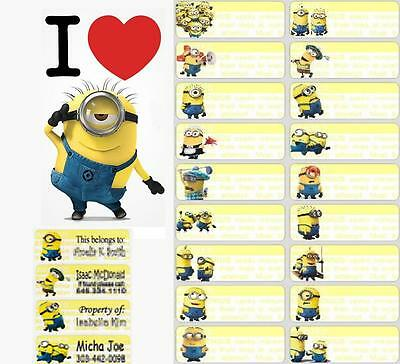 36 Minions-despicable me Personalised vinyl name Label Sticker School, Childcare