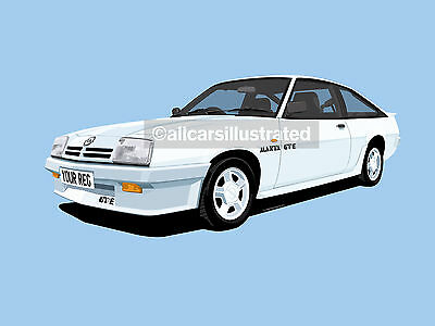 Opel Manta Gte Hatchback Car Art Print Picture (Size A3). Personalise It!