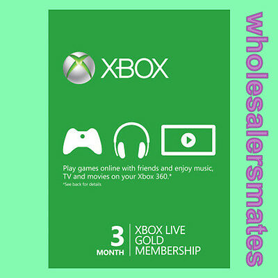 3 Month Xbox Live Gold Membership Code Card for 360 or One AU -FAST DISPATCH