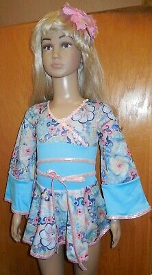 NWT Dance Costume Asian Oriental Japanese Kimono style Blue Floral ch/Ladies