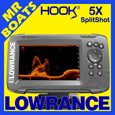 LOWRANCE HOOK2 5X FISHFINDER GPS Plotter SplitShot DownScan Trans Colour Sounder