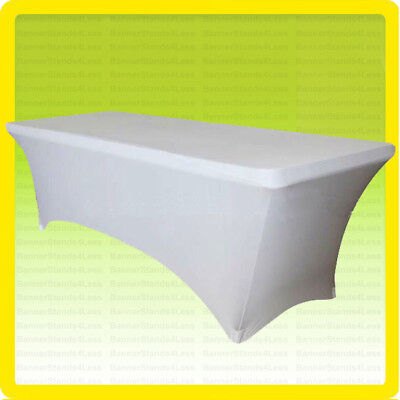 SPANDEX 6' Fitted Tablecloth Wedding Banquet Party Stretch Table Cover, WHITE