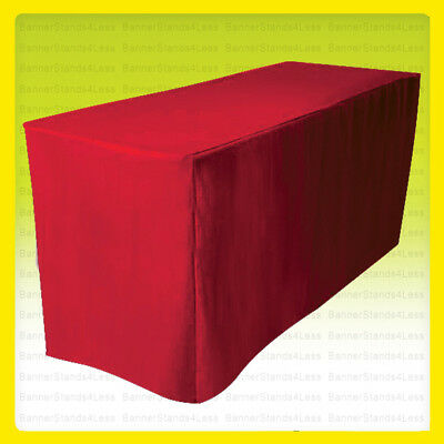8' Fitted Polyester Tablecloth Wedding Banquet Event Catering Table Cover - RED