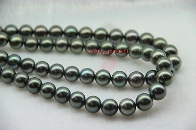 """LONG AAAAA 35""""11-12mm REAL south sea round natural black pearl necklace 14k GOLD"""
