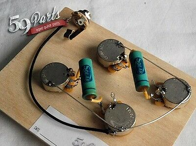 59PARTS VINTAGE 50s GIBSON LES PAUL PRE WIRED HARNESS ASSEMBLY SHORT SHAFT wJACK