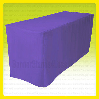 8' Fitted Table Cover Tablecloth Throw Wedding Banquet Trade Show - PURPLE