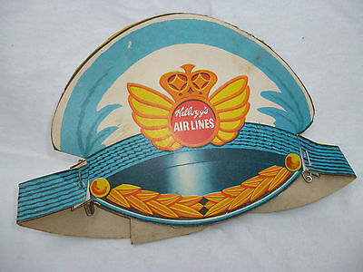 Very Rare Kellogg's Airlines Cardboard Cereal Box Cut Out Hat