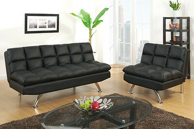 New Milena Contemporary Bycast Leather Adjustable Futon Sofa Bed & Chair 4Colors