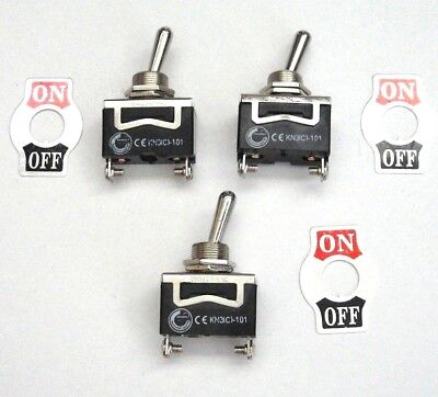 3 BBT Brand On/Off 12 volt, 20 amp Toggle Switches with Screw Terminals