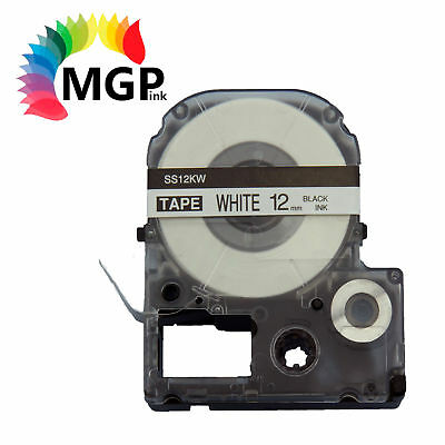2X LC-4WBN Standard LC Tape 12mm Black on White 8m for Epson LW-300 LW-400