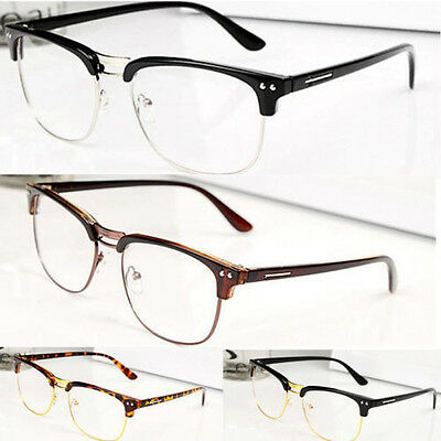 Fashion Hipster Vintage Retro Classic Half frame glasses Clear Lens Nerd Eyewear