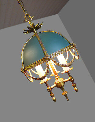 Wonderful French Bouillotte EMPIRE Style Bronze CHANDELIER with metal shade