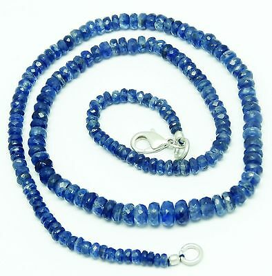 """Natural Gem Aaa Quality Kyanite 3-6Mm Faceted Rondelle Beads Necklace 96Ct. 17"""""""